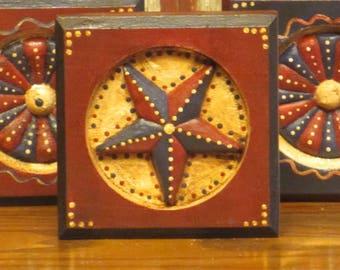 Wood Patriotic/Americana Red Block w/Star