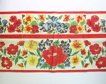 Summer Flowers Vintage Cotton Table Runner in Bright Primary Colors, 1950's Vintage Fabric, Kitchen Decor, Country Decor, Table Linens