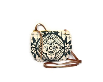 date purse  • small cross body bag - geometric floral print • deep teal - geometric print - waxed canvas • crossbody bag - summer style
