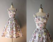 1950s Floral Sundress / Vintage 50s Dove Gray Cotton Sundress / 50s Full Skirt Sleeveless Dress M medium