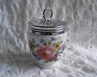 Vintage Royal Worcester Egg Coddler ~ Floral Flowers Bournemouth England Porcelain