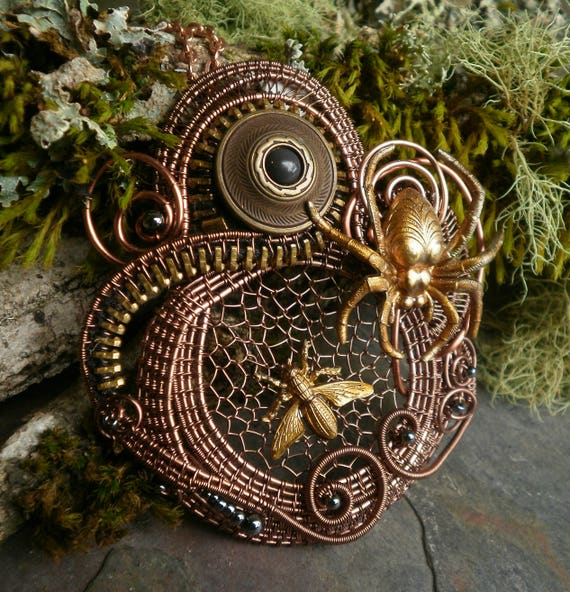 Gothic Steampunk Pin Pendant in Copper Spider and the Fly