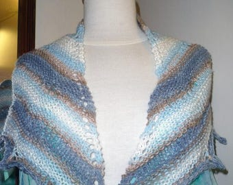 Christmas In July Handknitted Shawlette in Blue and White