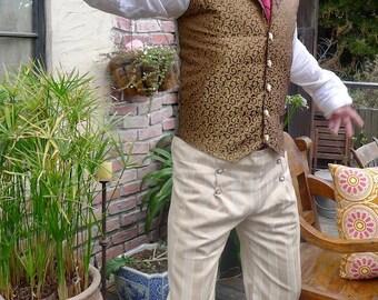 Golden Swirl  and Brown Tapestry Steampunk Victorian Lapeled Gentlemen's Vest