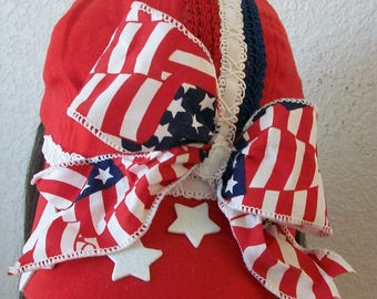 Patriotic 4th of July Baseball Cap, Red, White and Blue on a Red Cap  Stars Cording Flag Ribbon