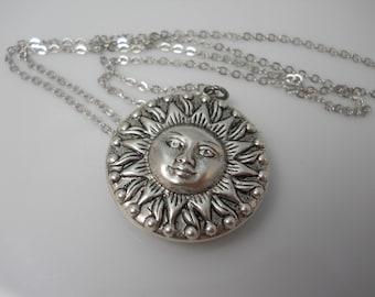 Silver Sun Necklace Double Sided Celestial Charm Sun Face Sun Solar Beach Sun Ray Jewelry Long Boho Necklace