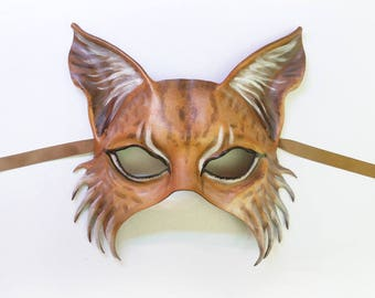 Cat Lynx Leather Mask wildcat cat Bobcat Maine Coon wall art very lightweight and easy to wear