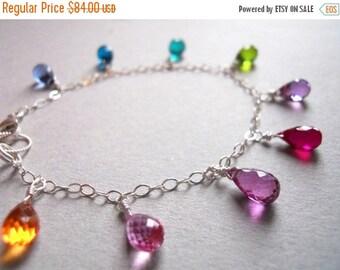 QUICKIE SALE 15% OFF, Rainbow Bracelet, Multicolor Bracelet, Gemstone Bracelet, Multi-Colored faceted quartz droplet bracelet, gift idea