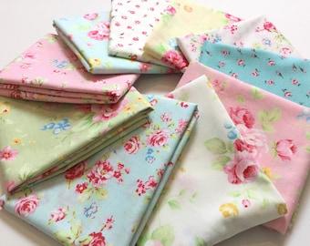 10 FQ Lecien Pastel Rose Bundle ~  Antique Flower Collection in Pastel + Old New 30's  2017 Fabric Collection, Lecien Cotton Quilt Fabrics