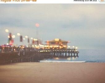 SALE photography, Santa Monica beach pier photo, Santa Monica print, night photography, ocean wave landscape, abstract, rainbow colors, art