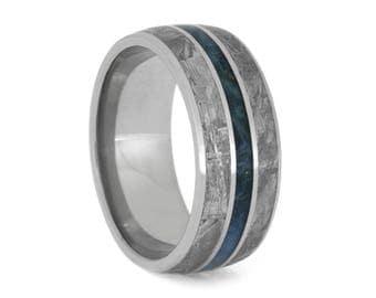 Gibeon Meteorite Wedding Band With Blue Box Elder Burl Stripe, Men's Titanium Ring, Wood Wedding Band
