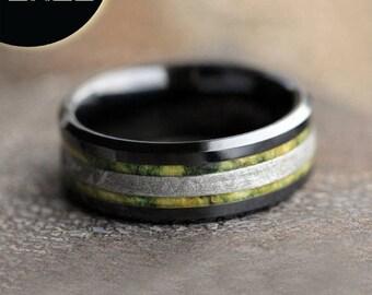 SALE - Meteorite Wedding Band, Black Ceramic Ring With Green Box Elder Burl, Mens Wood Ring