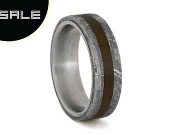 SALE - Meteorite and Petrified Wood Ring with Titanium Sleeve; Wedding Band or Personalized Gift