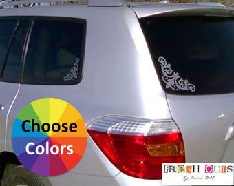 Vinyl Decal Car Window Corner Decals Floral Damask Flourish Set of 4 Choice of 25 Colors