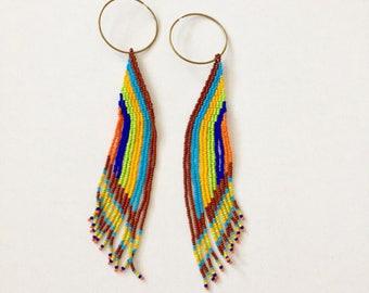 Native American Beaded Hoop Earrings. Sale!