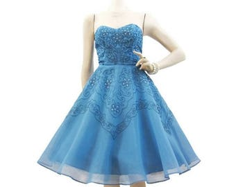 REDUCED 50s Dress Vintage Cupcake Blue Soutache Rhinestone Strapless Party Prom S
