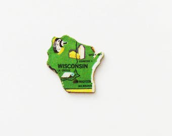 1961 Wisconsin Brooch - Pin / Unique Wearable History Gift Idea / Upcycled Vintage Wood Jewelry / Timeless Gift Under 25