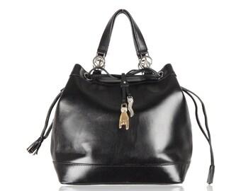 MOSCHINO VINTAGE Black Leather DRAWSTRING Bucket Bag w/Charms