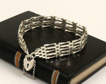 Vintage English Sterling Silver Gate Bracelet 5 Bar Link Bracelet Heart Padlock Clasp Heart Charm Heart Lock Heart Clasp Gate Link Bracelet