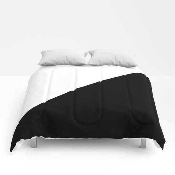Triangles - Black and White Comforter, Black White Bedding, Unique, Modern Comforter, Full, Queen, King, Retro, Vintage, Dorm, Classic