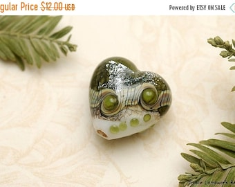 ON SALE 35% OFF Olive Stardust Heart Focal Bead - Handmade Glass Lampwork Bead 11831205