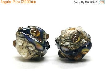 ON SALE 35% OFF Glass Lampwork Bead Set - Five Purple Free Style Bicone Beads 10407007