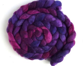 Three Waters Farm, Hand Painted Spinning or Felting Fiber, Racing Violet