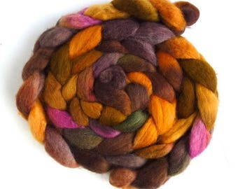 BFL Wool Roving - Hand Painted Spinning or Felting Fiber, Weathered-1