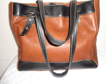 Large business tote,shoulder bag, carryall bag buttery  thick Colombian  leather honey tan black vintage  pristine condition