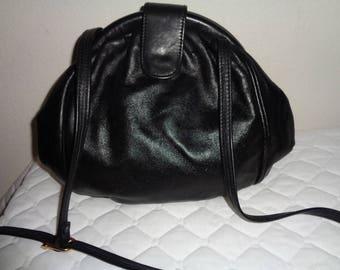 First Edition genuine leather frame bag, evening purse, cross body bag black leather vintage 70s rare NMINT