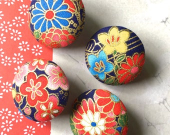 "Handmade Dark Navy Blue Red Pink Gold Japanese Oriental Floral Flowers Fabric Covered Buttons, Japanese Fridge Magnets, 1.2"" 4's"