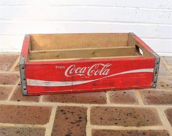Vintage Wooden Coca Cola Crate Memphis Arkansas 1975 Red Coca Cola Crate