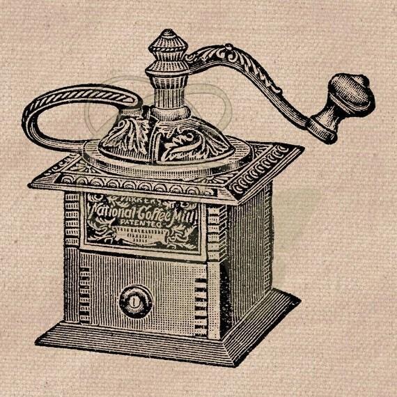Coffee Grinder Clip Art ~ Old kitchen art coffee grinder printable digital download