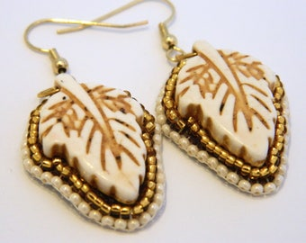 Bead embroidery ivory howlite leaf earrings - Loxley
