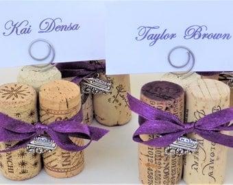 Place Card Holder Wine Cork Menu Holder Table Number Holder Your Color Ribbon Wine Charm Wedding Reception Wine Event Dinner Party Favor