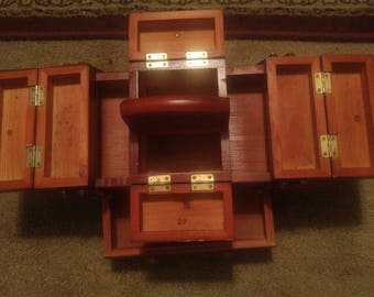 Vintage Style 7 Compartment Sewing Caddy Wood USED