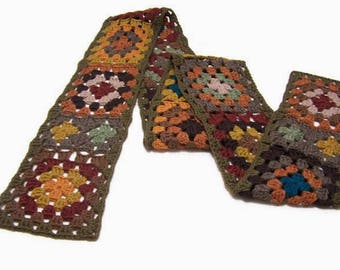 Classic Granny Square Scarf - Crochet - Boho - Neck Wrap - Wool - Muffler - Warmer