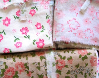 Fabric Bundle/Scrap Pack/French Florals/Vintage Fabric/Quilting/Patchwork/Shabby Chic/Small Prints/Fairy Dresses, Applique, Mixed Media