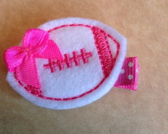 Boutique Embroidered Felt Hot Pink & White Football Hair Clip, Fall, Football, Toddlers Hair Clippies, Girls Hair Bows (Item #16-335)