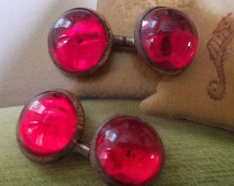 Vintage buttons- Beautiful, 4 matching small domed ruby rex Cabachon Glass Rhinestone centers, gum drop  bronze metal setting (Aug 124 17)