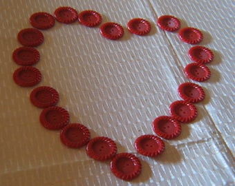 21 Red Plastic Notched Sew Thru Plastic Buttons