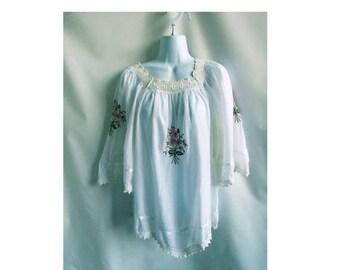 Vintage Greek Blouse Tunic Shirt Mauve Floral 70s Top Ethnic Hippie Boho Huichol