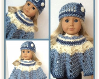 Doll Clothes Made To Fit American Girl.  Crochet Poncho and Hat Set, Multicolor Blues and Ivory, Fits 18 Inch Doll