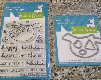 "Lawn Fawn, ""Hang In There"" Stamp and Die Set"