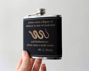 Flask | W.C. Fields Whiskey quote flask
