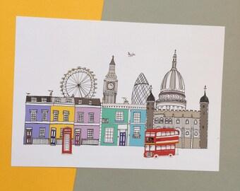 London Skyline Print A4 - Colour London Illustration - London Skyline - New Home Gift - London Gift