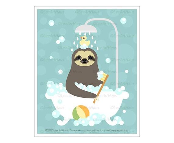 31J Sloth Art Print - Sloth Taking Bubble Bath Shower Wall Art - Sloth Wall Art - Funny Animal Drawing - Bath Decor - Bathroom Print