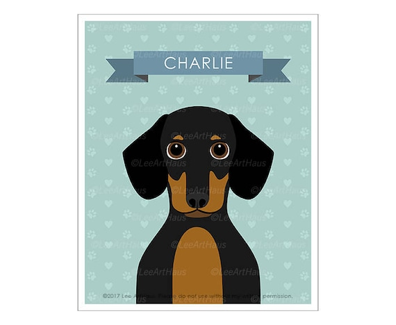 2N Pet Portrait- Personalized Black and Tan Dachshund Wall Art - Dog Wall Art - Dachshund Print - Customized Dog Decor - Dog Nursery Art