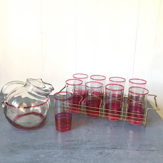 vintage ball tilt pitcher and tumblers with brass caddy - Mid Century barware - fuchsia gold stripe - 11 piece set