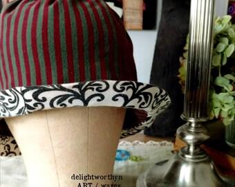 Purple Green Stripe Cotton Cloche Hat_Contrasting Brim